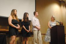 Dr Laura King with Students at Honors Reception